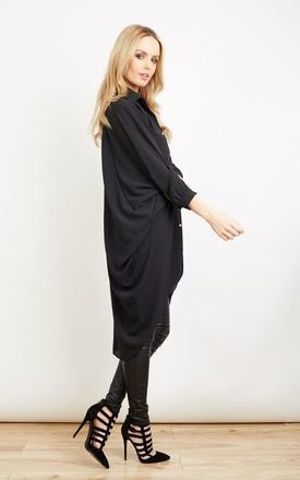 Black Oversized Longline Button Down Blouse by Lilah Rose
