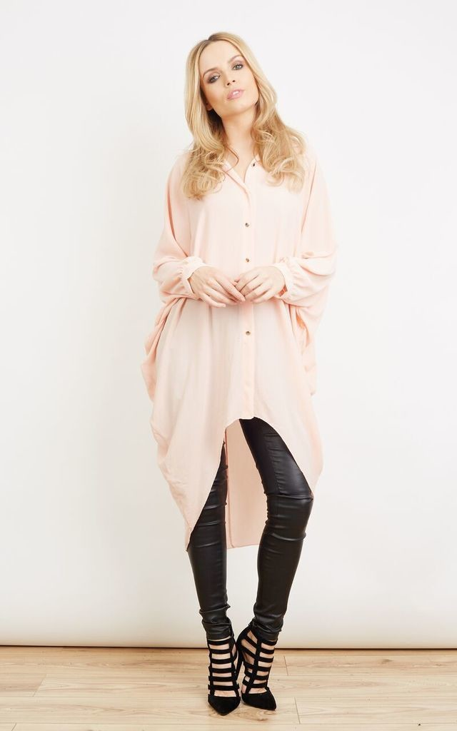 Pink Oversized Longline Button Down Blouse by Lilah Rose