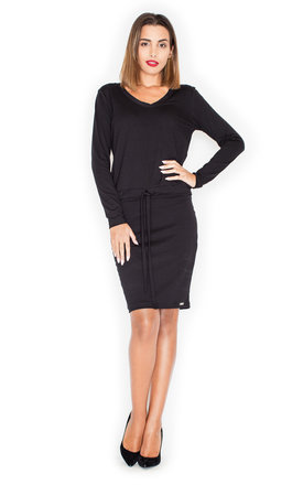 Casual Dress Long Sleeve In Black by KATRUS Product photo