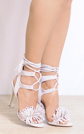 Nude Nude Fringed Tassels Lace Up Strappy Sandals Shoes Stiletto High Heels by Shoe Closet