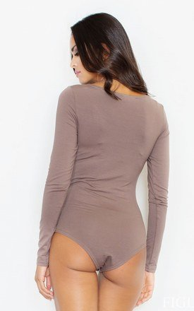 Brown Long Sleeve Bodysuit by FIGL