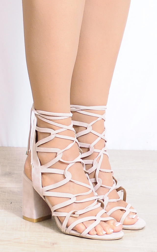 Nude Lace Ups Cut Out Strappy Sandals Peep Toes High Heels by Shoe Closet
