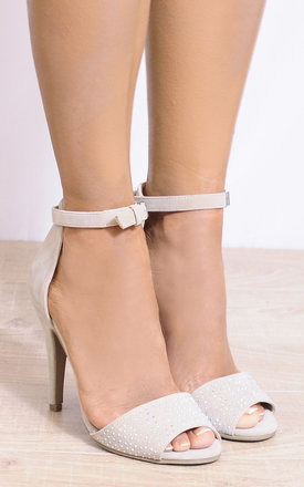 Beige Diamante Barely There Stilettos Strappy Sandals by Shoe Closet