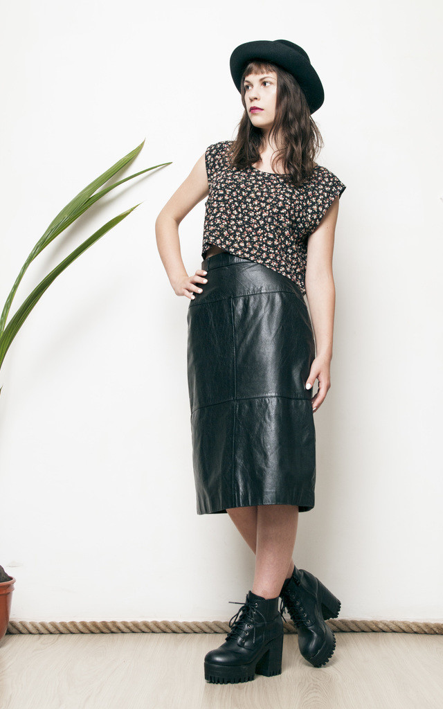 Black leather high waisted 80s glam pencil skirt by Pop Sick Vintage