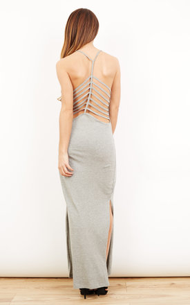 Spider Strappy Back Light Grey Maxi Dress With Side Split by Noisy May