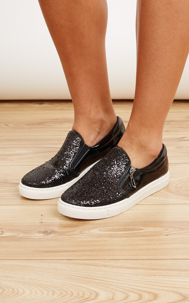 Black Side Zip Glitter Slip On Trainers by Bella and Blue