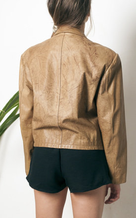 80s vintage brown leather jacket by Pop Sick Vintage