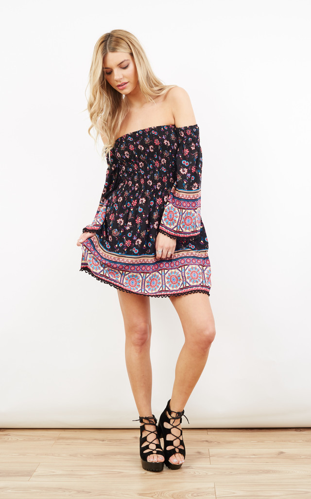 Black and Purple Floral Off Shoulder Contrast Dress by Paisley Rain