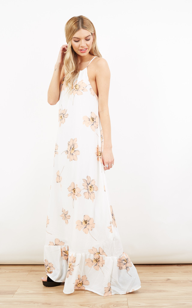 Orange Floral Maxi Dress With Frill Bottom by Paisley Rain