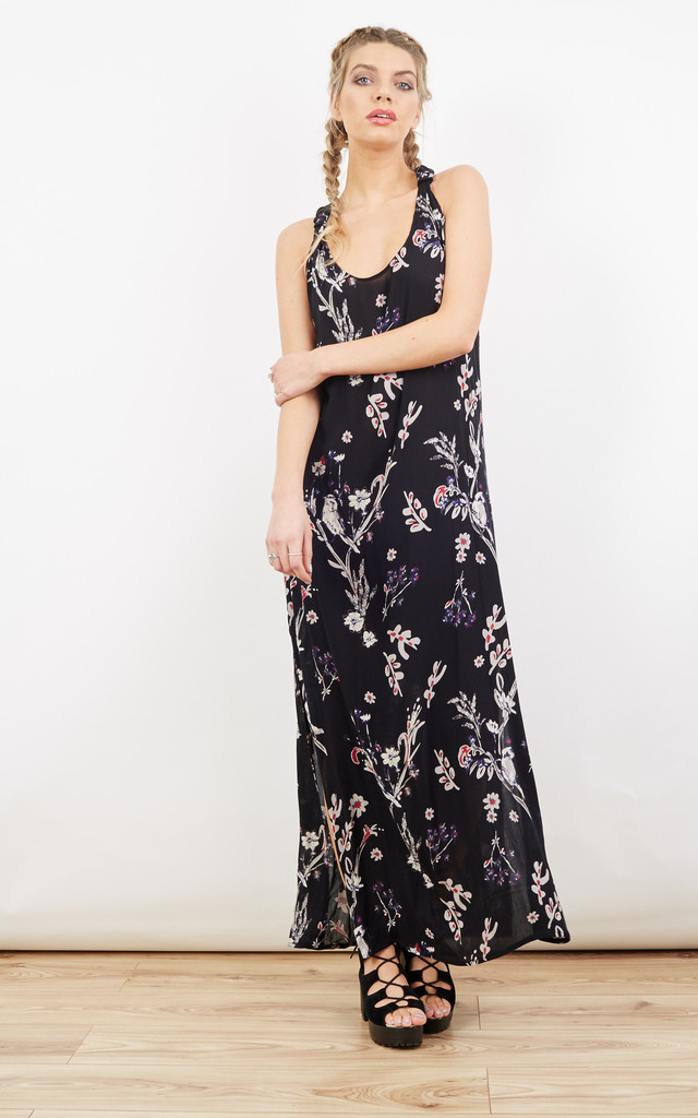 T-Back Maxi Vest Dress Floral Print by likemary