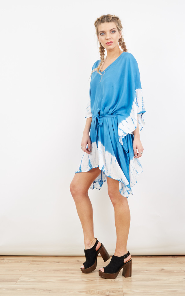 V-Neck Tie Dye Kaftan Summer Blue by likemary