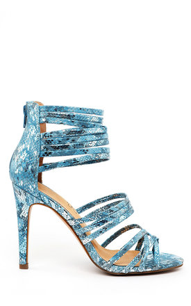 BLUE SNAKE PRINT STRAPPY HEELED SANDALS by Jezzelle