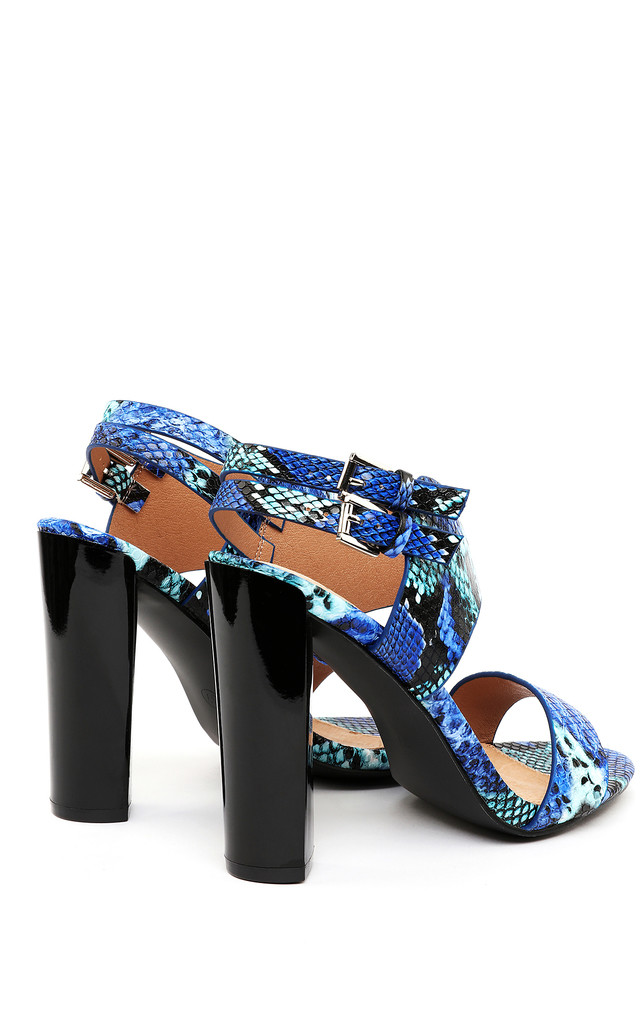 Black Heel Blue Python Sandals by Jezzelle