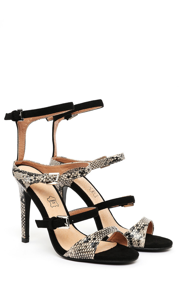 PYTHON PRINT & SUEDE STRAPPY HEELED SANDALS by Jezzelle