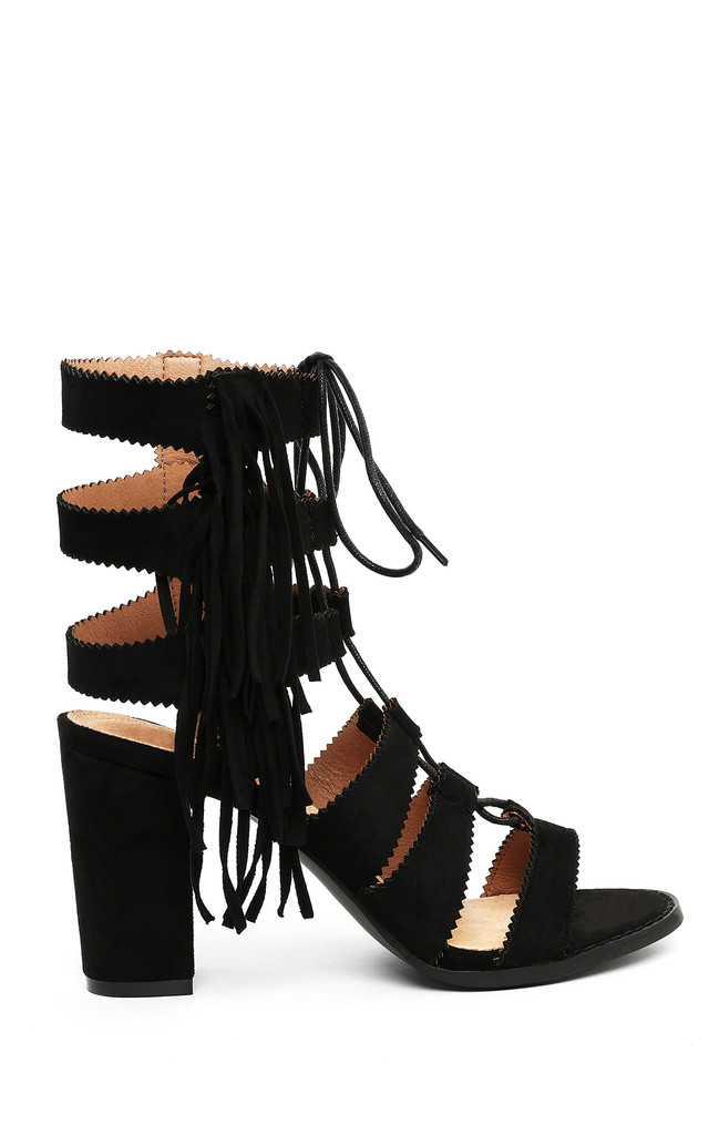 BLACK SUEDE LACE UP BLOCK HEEL SANDALS by Jezzelle