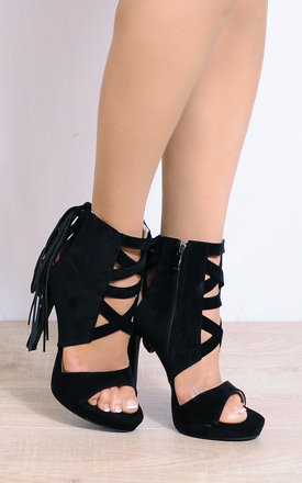 Black Tassels Ankle Cuff Strappy Sandals High Heels by Shoe Closet
