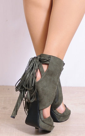 Khaki Strappy High Heels with Tassels by Shoe Closet
