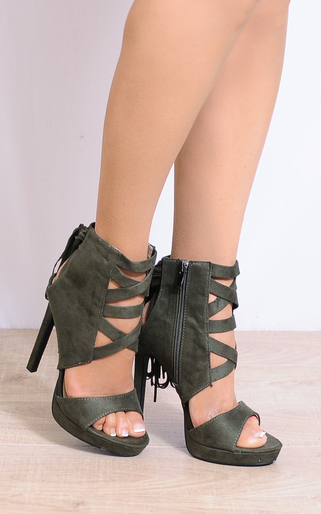 Khaki Green Tassels Ankle Cuff Strappy Sandals High Heels by Shoe Closet