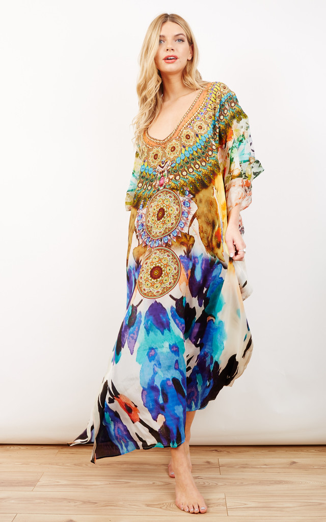 Jasmin Multicoloured Printed Maxi Kaftan by Kitten Beachwear