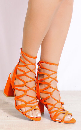 Orange Lace Ups Cut Out Strappy Sandals Peep Toes High Heels by Shoe Closet