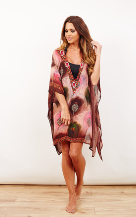 India Deep V Pink Print Kaftan by Kitten Beachwear Product photo