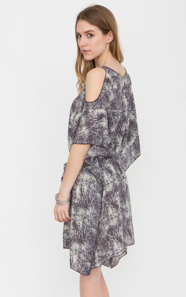 Snake Print Cold Shoulder Kaftan by likemary