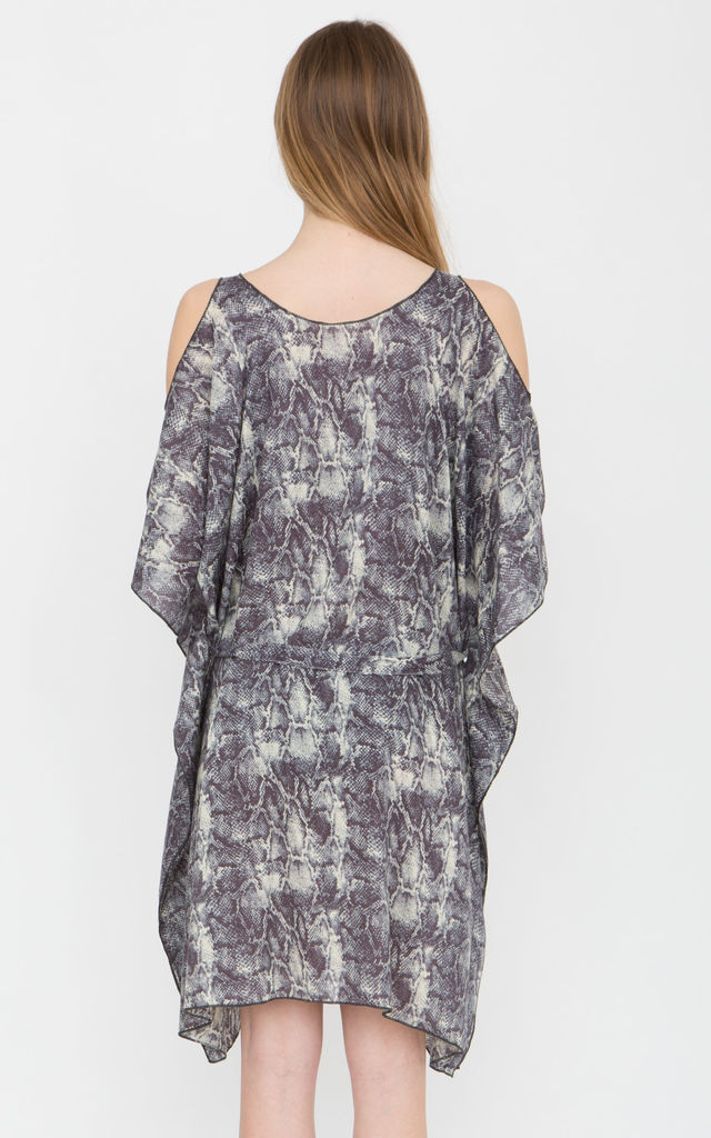 Snake Print Kaftan Cold Shoulder Coverup by likemary