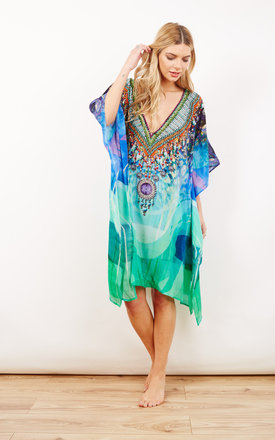 Brigitte Blue And Green Printed Kaftan by Kitten Beachwear Product photo