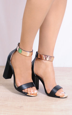 Black Gold Metal Ankle Cuff Barely There Strappy Sandals by Shoe Closet