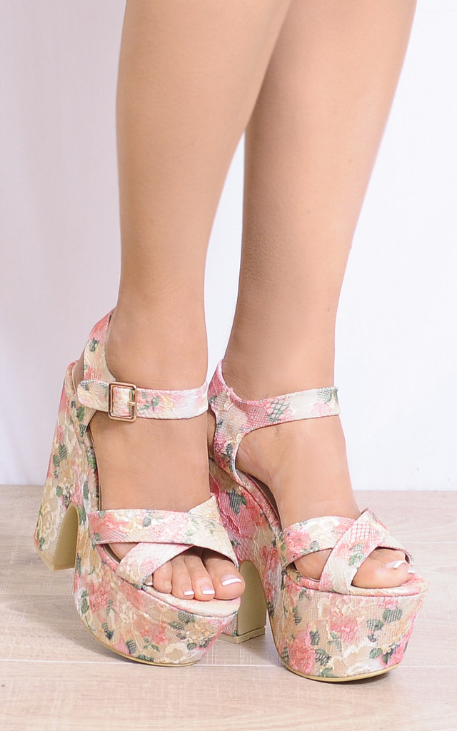 Lace Multi Floral Wedged Platforms Wedges Strappy Sandals by Shoe Closet