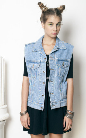 90s vintage grunge oversized denim vest by Pop Sick Vintage