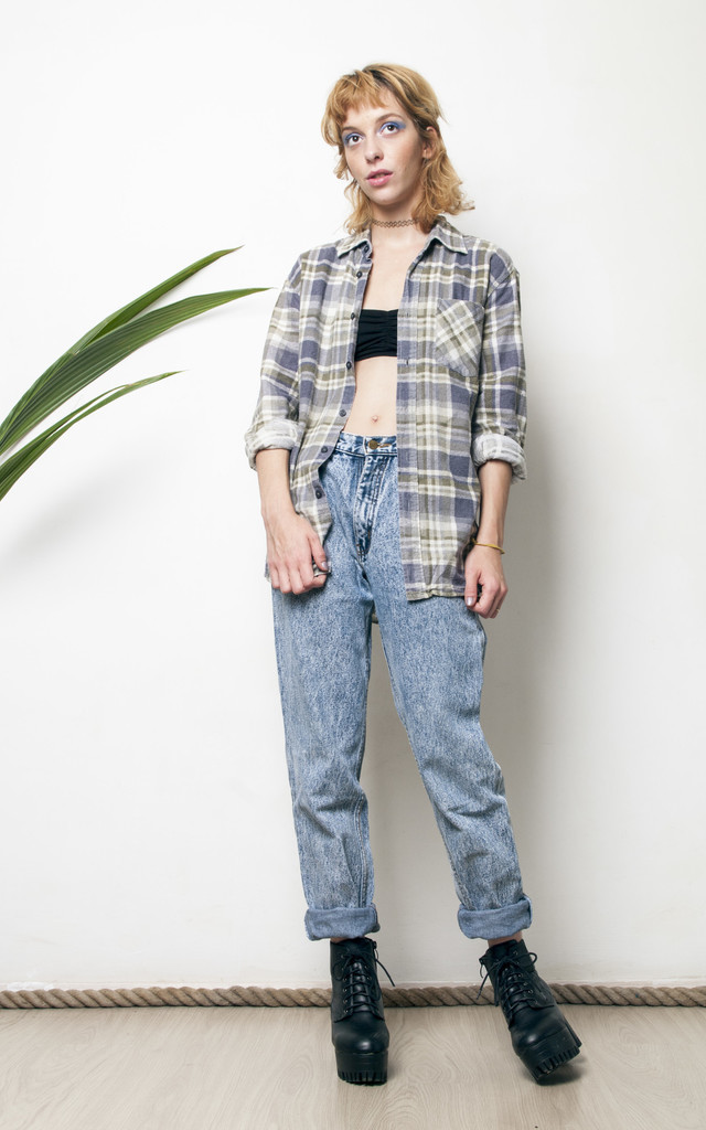 90s grunge oversized grey checked flannel shirt by Pop Sick Vintage
