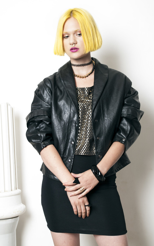 80s vintage vegan faux leather biker jacket by Pop Sick Vintage