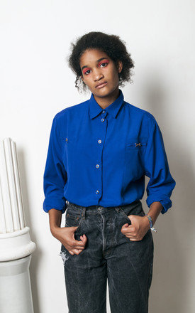 90s vintage ink blue blouse with golden details by Pop Sick Vintage