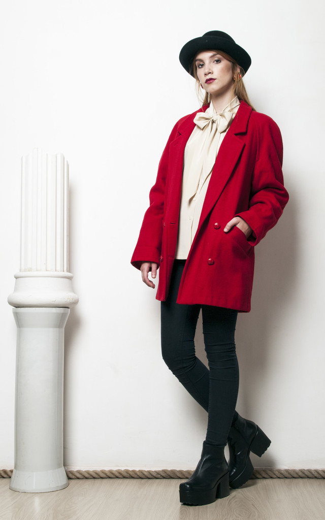 70s vintage red double breasted woolen winter coat by Pop Sick Vintage