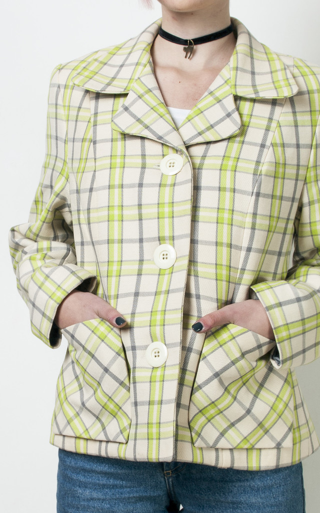 70s vintage lime green checked blazer by Pop Sick Vintage