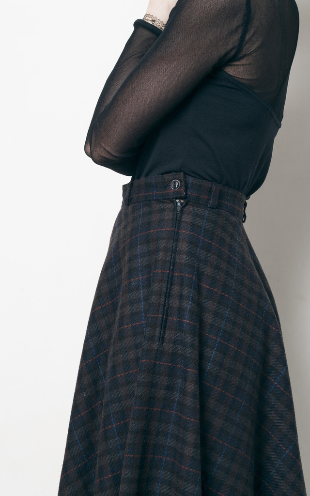 70s vintage checked bell skirt by Pop Sick Vintage