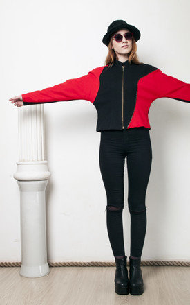 Futuristic 90s vintage black n red blazer jacket by Pop Sick Vintage