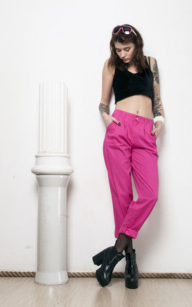 Pink high waisted trousers 80s vintage pants by Pop Sick Vintage