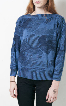 Camouflage knit jumper 80s vintage abstract sweater by Pop Sick Vintage