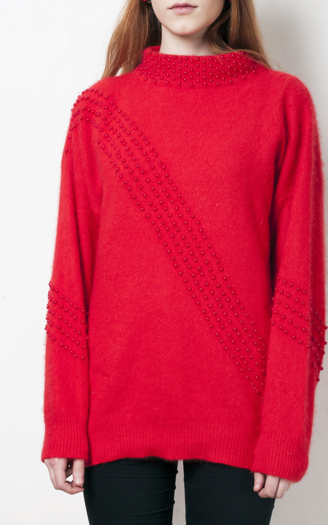 Red knit jumper 80s vintage oversized beaded sweater by Pop Sick Vintage