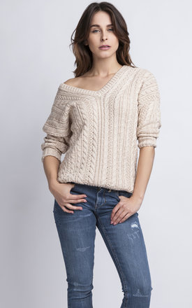 One Shoulder Knitted Sweater In Beige by MKM Knitwear Design