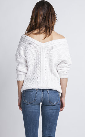 One Shoulder Knitted Sweater In White by MKM Knitwear Design