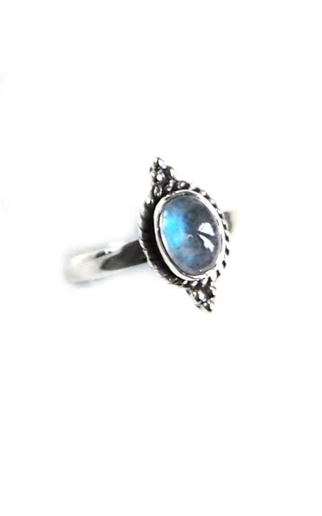 STERLING SILVER RAINBOW MOONSTONE BELLA RING by BlackMoon