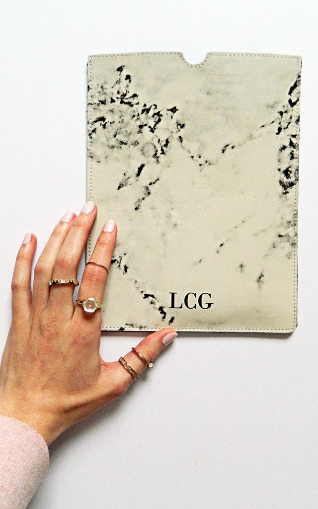 Monogram marbled leather iPad sleeve by Rianna Phillips