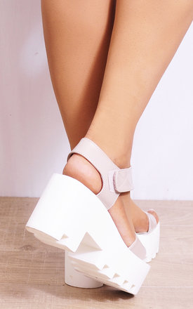 Nude Patent Cleated Platforms Strappy Sandals by Shoe Closet