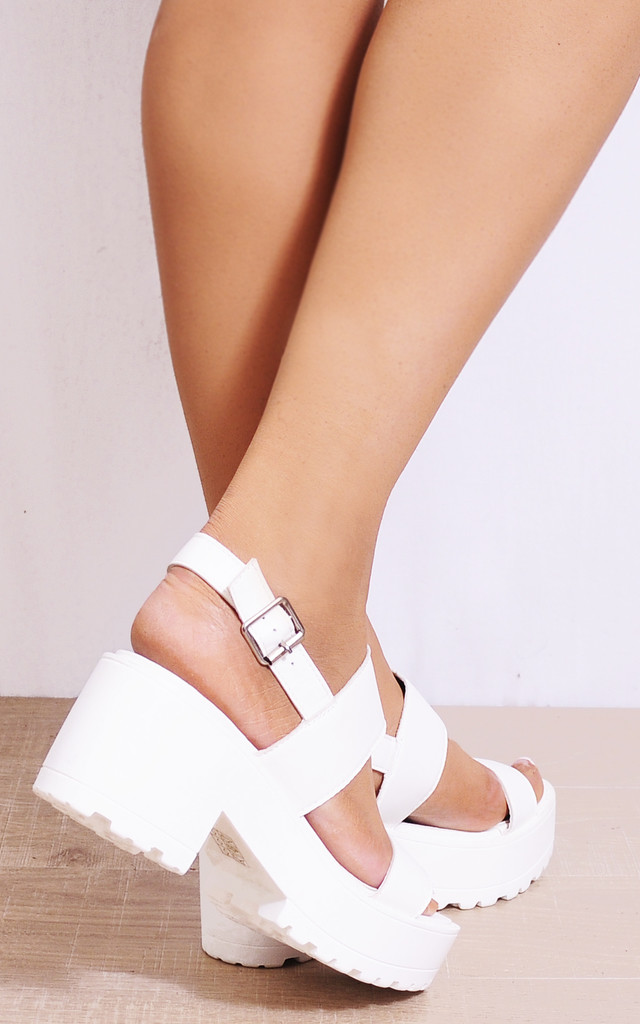 White Cleated Platforms Strappy Sandals Sling Backs Heels by Shoe Closet