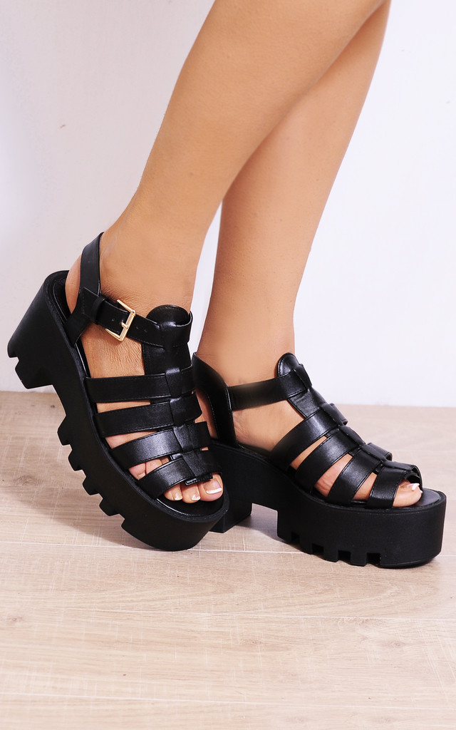 Black Cleated Platforms Strappy Sandals Wedges Heels jf1 by Shoe Closet