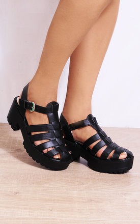 Black Cleated Platforms Strappy Sandals Wedges Heels by Shoe Closet