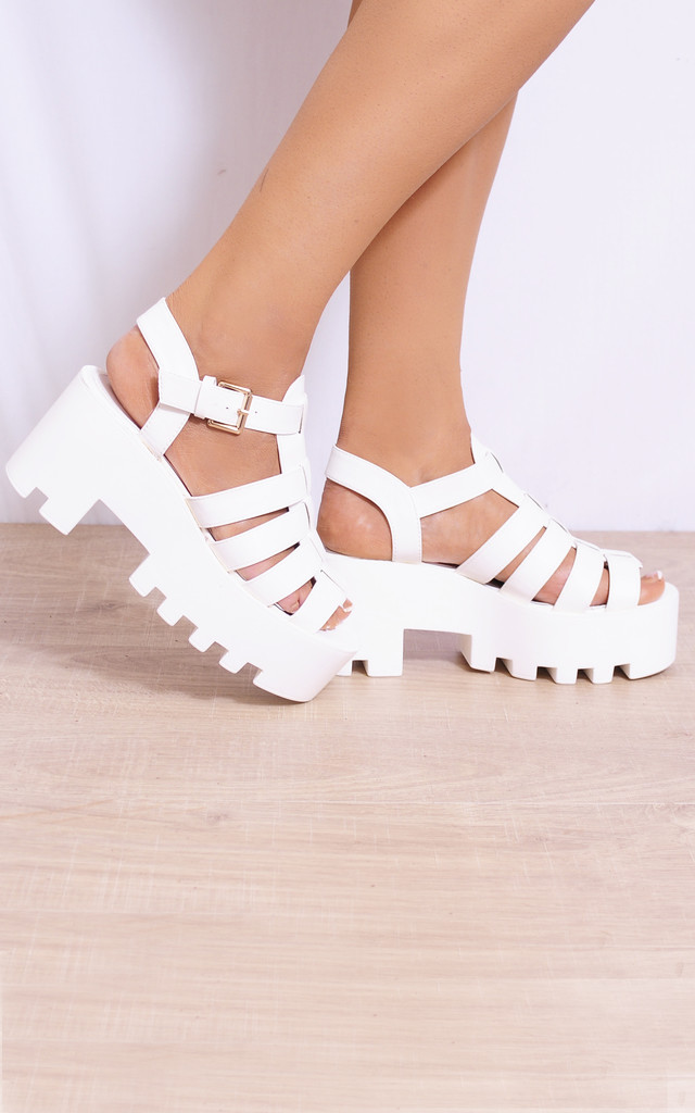 White Cleated Platforms Strappy Sandals Wedges Heels by Shoe Closet